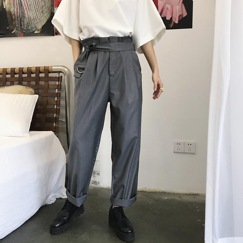 2019 Mixcubic 2018 England Style Unique High Waist Design Suit Pants