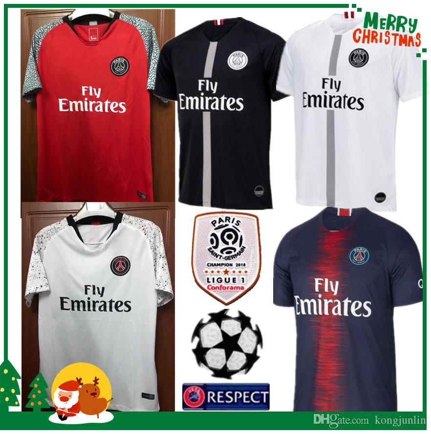 18 19 Limited Edition PSG MBAPPE Home Shirt T SILVA CAVANI DI MARIA ... 9d1a991cf0890