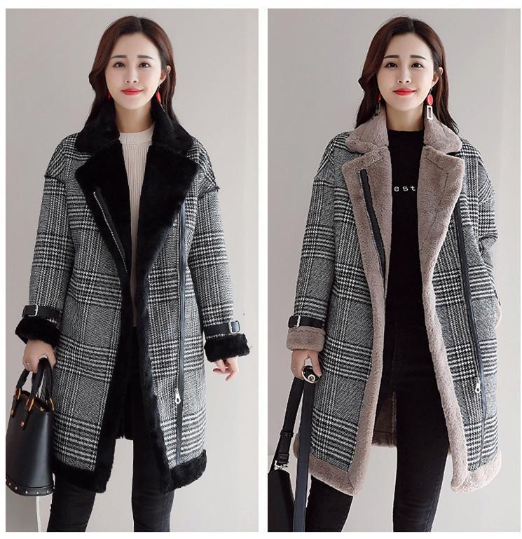 1cb323d05 2019 Faux Fur Wool Blend Coat Women Mid Long Coats Turn Down Collar Outwear  Plaid Jacket Casual Autumn Winter Elegant Overcoat Parka From Sebastiani,  ...