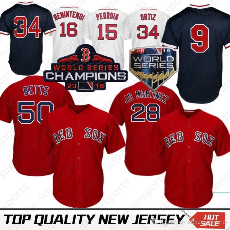 quality design 8e4a5 a832d Stitched 50 Mookie Betts Boston Red Sox Baseball Jersey 28 JD Martinez 16  Andrew Benintendi 41 Chris Sale 15 Dustin Pedroia 9 Ted Williams