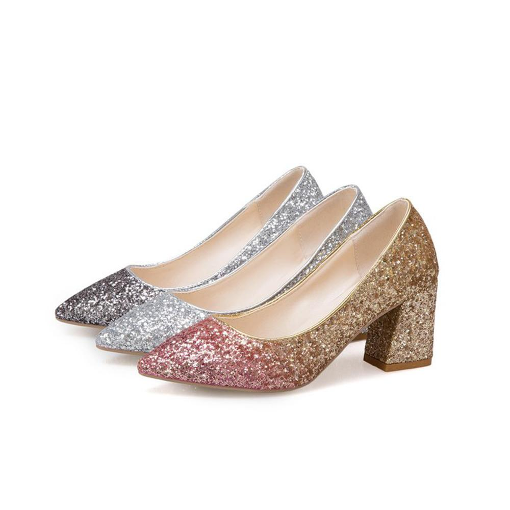 0faf4ccbf7d Dress Sexy Women Pumps High Heels Sequins Gradient Color Wedding Shoes  Pointed Toe High Block Heel Fashion Dress Shoes Office Shoes For Women  Cheap Shoes ...