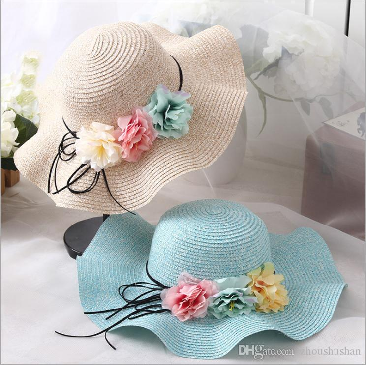 Children Summer Sun Protection Floral Decoration Straw Hat Hot Selling  Cheap Custom New Design Cap Hat Sun Hats Sun Hat From Zhoushushan 8fd3a3c8185b