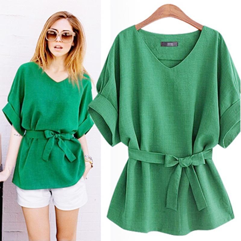 66f451ecb91 Summer 5XL Plus Size Women Shirts Linen Tunic Shirt V Neck Big Bow Batwing  Tie Loose Ladies Blouse Female Top For Tops