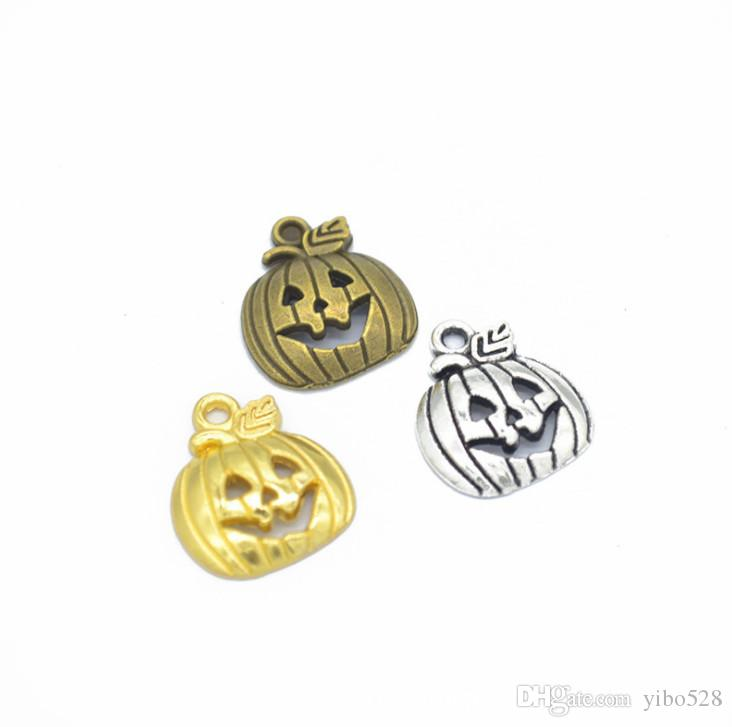 2019 Four colours Halloween Pumpkin shape alloy Accessories DIY alloy Pendant Necklace Jewelry Accessories 18mm x 16mm Pendant