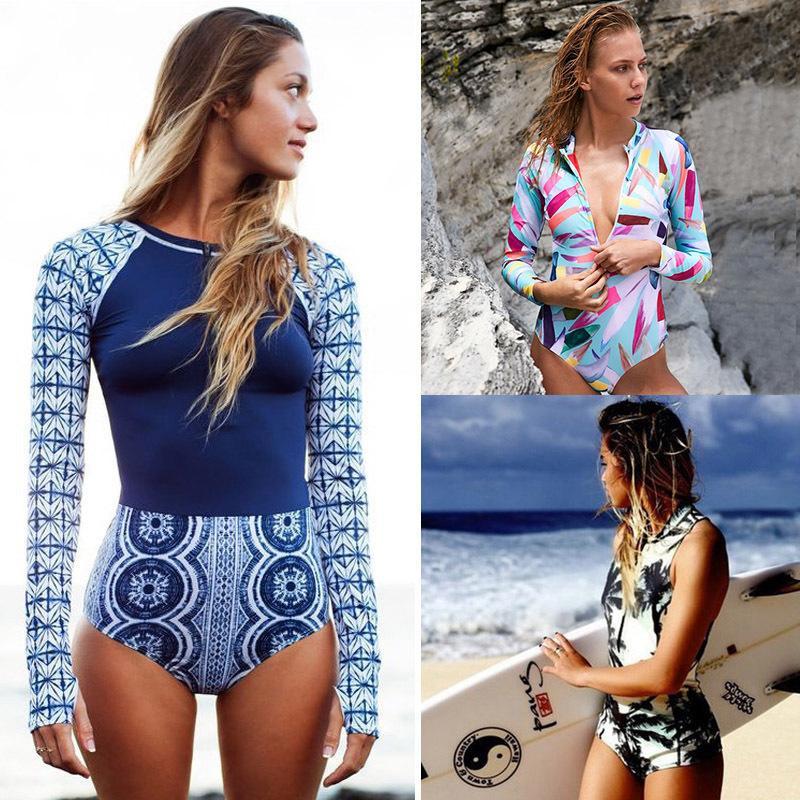 4e4d4a3d81 2018 Print Floral One Piece Swimsuit Long Sleeve Swimwear Women Bathing  Suit Retro Zipper Swimsuit One Piece Surfing Swim Wear Y19042203