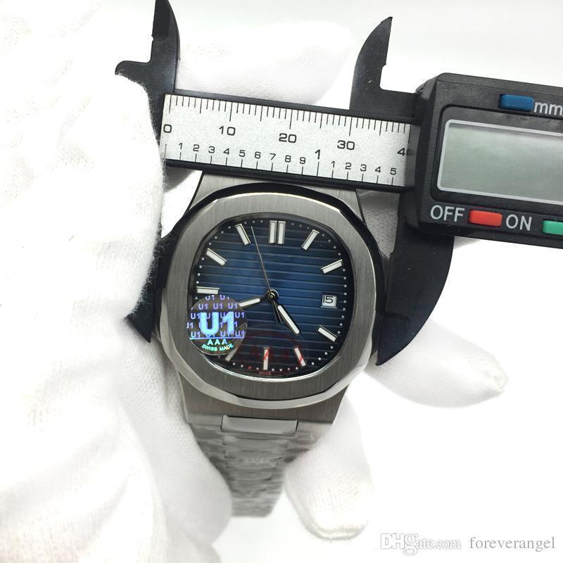29dd8bf67 Compre U1 Movimiento De Fábrica Grabado AAA Reloj De Lujo Para Hombre  Nautilus PP Automático Mecánico De Acero Inoxidable Transparente Volver Azul  Dial ...