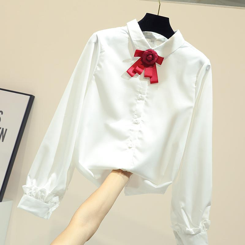 4711192fdda03b 2019 Sping Summer Women's White Shirt Wit Red Bow Tie Simple Long Sleeves  Blouse Girls All-match BasicTops Blusa Female Top