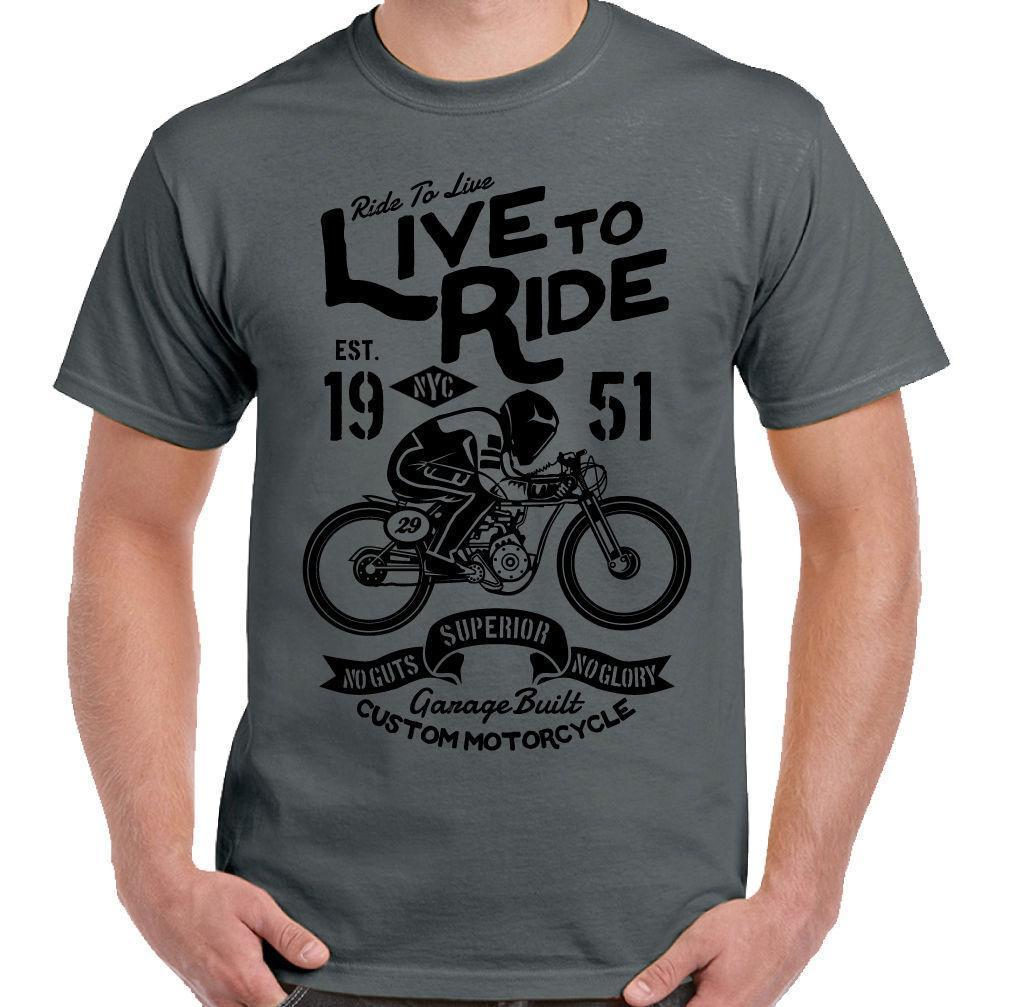 Live To Ride Mens Cafe Racer Biker T-Shirt Motorbike Motorcycle Enthusiast  Bike