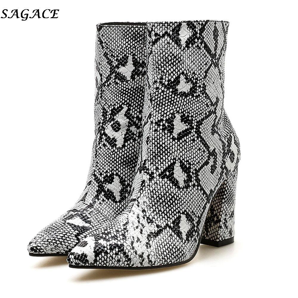 Compre SAGACE 2019 Nuevas Botas De Mujer Sexy Moda Tacones De Piel De  Serpiente Del Dedo Del Pie Cremallera Gruesa Del Dedo Del Pie Puntiagudo Zapatos  Mujer ... c86068d0d043
