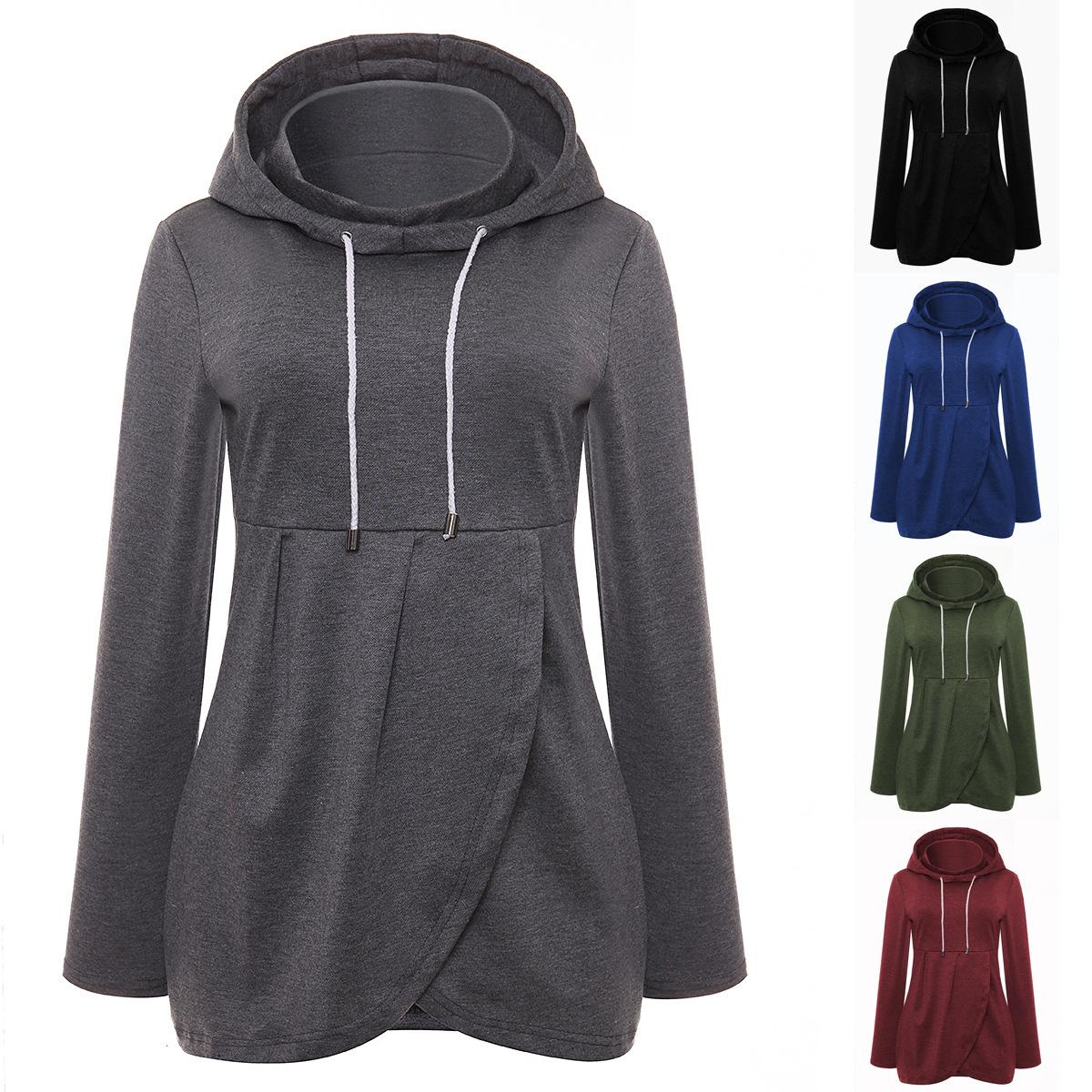 2019 Women Cotton Hoodies Women Solid Asymmetrical Hem Hooded Sweatshirts  Solid Turtle Neck Long Sleeve Slim Casual Winter Tops From Hengytrade e2e099ef53