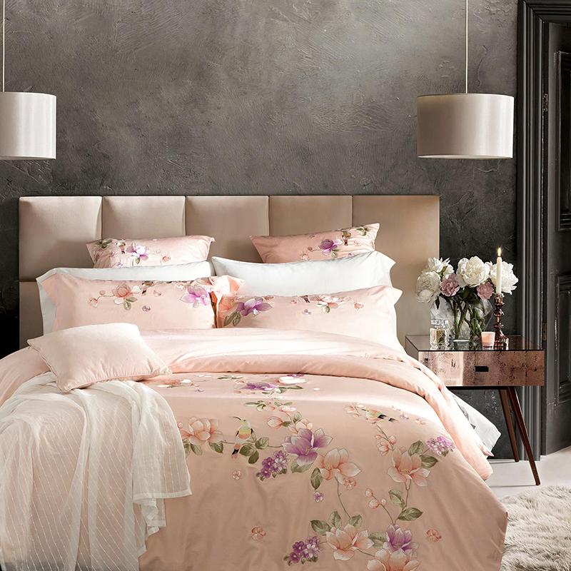 4 6PCS 100 Cotton Bedding Set Luxury 60S Sateen Duvet Covers King Size Bed Linen Embroidery Bed Sheets Queen Bedspread