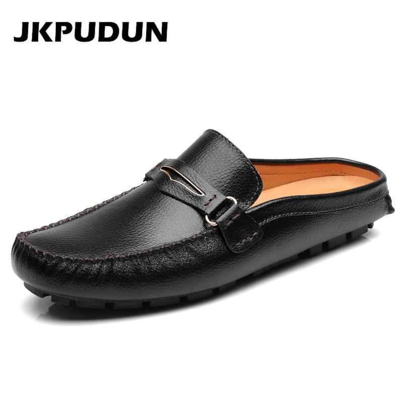 a623dd66e1ea JKPUDUN Mens Designer Black Shoes Luxury Brand 2018 High Quality Genuine  Leather Flats Half Slipper Loafer Casual Summer Sandals Online with   59.89 Pair on ...
