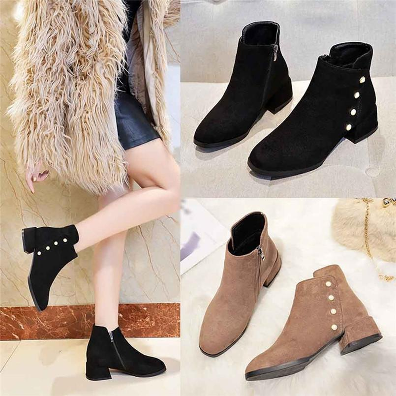 12e31be2a Fashion Autumn Winter 2019 Women Solid Color Winter Warm Snow Boots Casual  Pearl Side Zipper Ankle Boots A# Platform Boots Chelsea Boot From Ipinkie,  ...