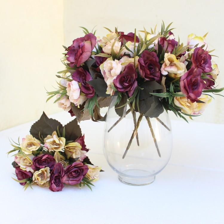 Artificial silk 1 Bunch Small Fall Rose Bouquet Fake Flower Arrange Table Daisy Wedding Flowers Decor Party accessory Flores