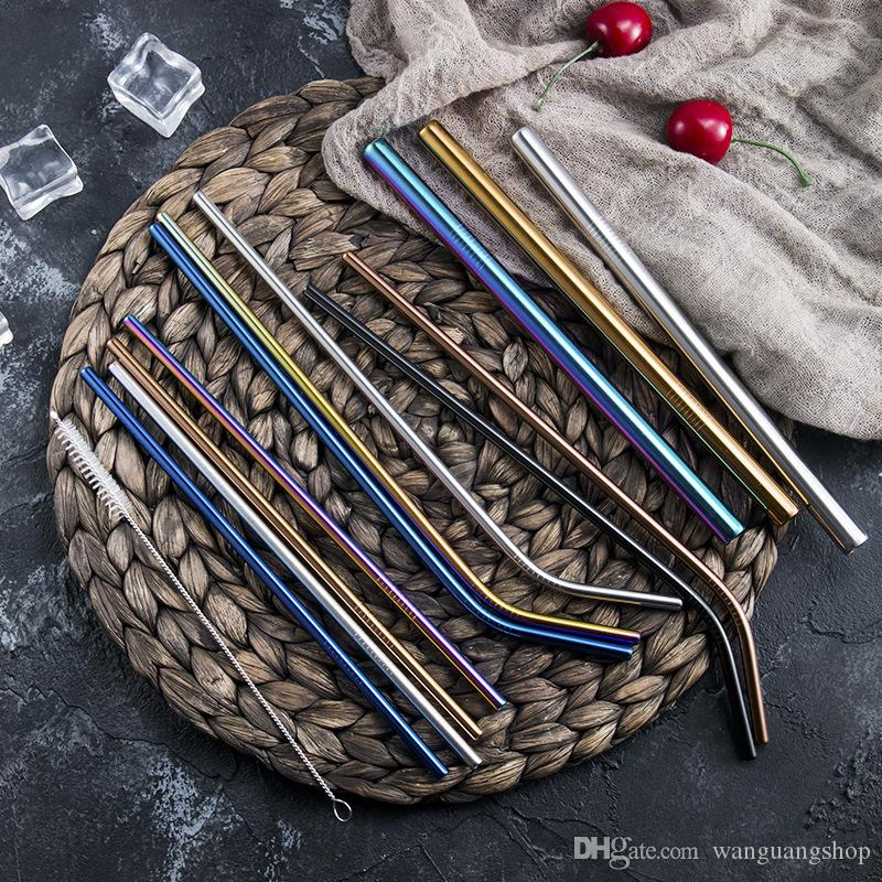 Straw Stainless Steel Straws Reusable Metal Straws Creative Drink Milk Tea Coffee Cocktail Straw Copper Plated Straw