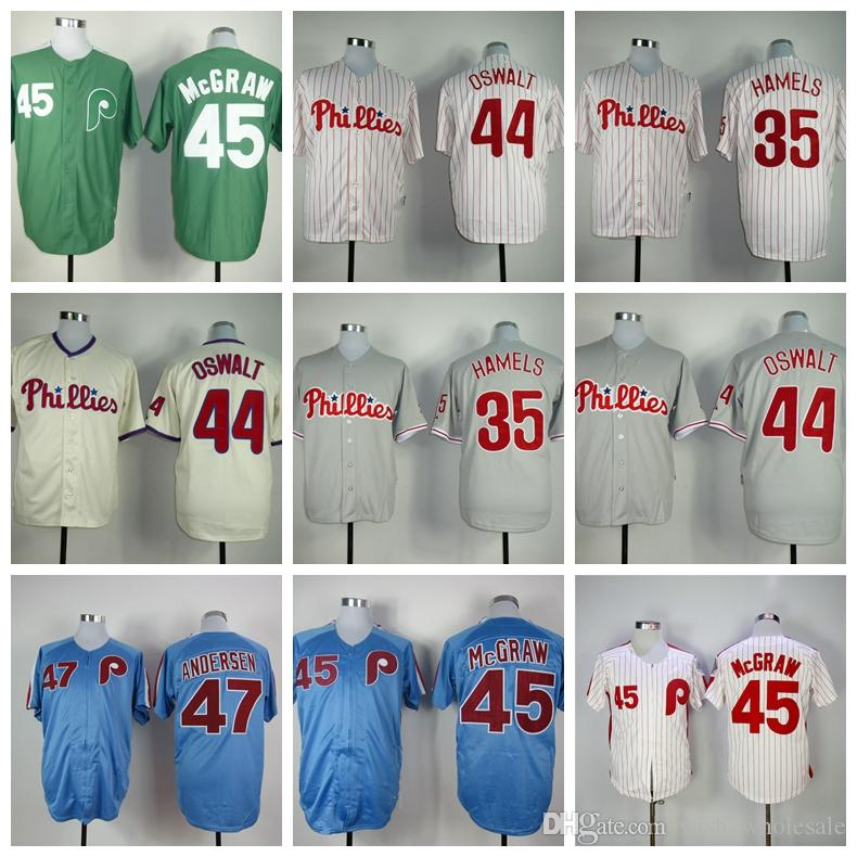 d12a6a17c30 Top Quality Philadelphia Men s Phillies 44 Roy Oswalt 45 Tug McGraw  Stitched Authentic Baseball Jerseys
