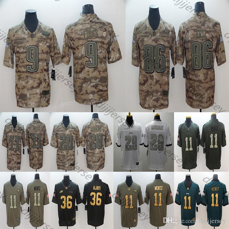 sports shoes c516a c4ccf Philadelphia Men s Eagles Jerseys Carson Wentz Nick Foles Zach Ertz Brian  Dawkins Brian Westbrook Camo Salute to Service Football Jersey