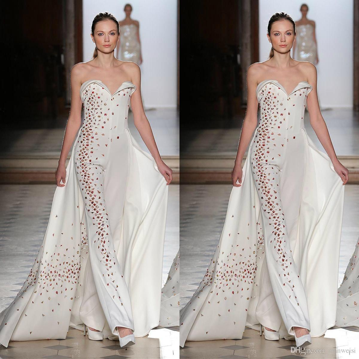 Prom Dress With Detachable Train: Tony Ward 2019 Jumpsuits Prom Dresses With Detachable