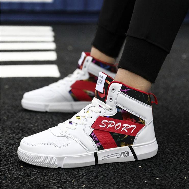 Compre 2019 Imprimir Zapatillas De Deporte Para Hombre Zapatos Planos  Planos Masculinos Otoño Marca De Lujo Unisex Hip Hop High Top Pu Cuero  Zapatillas ... 3a7ad7e5bea
