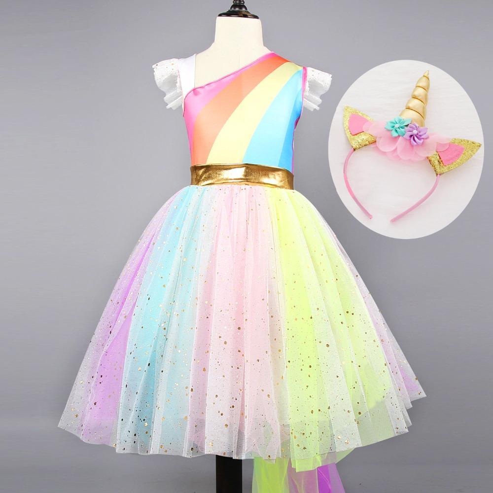 ce3b49ad0d6 Acheter Nouvelle Licorne Party Dress Filles Enfants Costume De Carnaval  Enfants Arc En Ciel Princesse Tutu Robes Filles Halloween Cosplay  Déguisement De ...