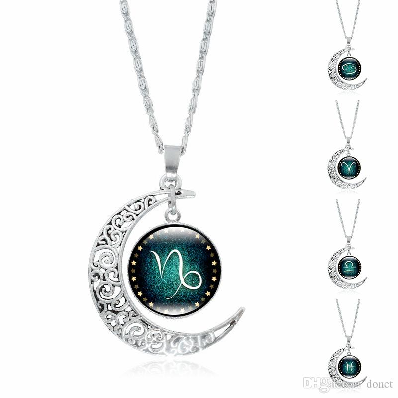 f8acb15f5434f Chinese 12 Zodiac Necklace Leo Pendant Blue Moon Constellation Symbol  Jewelry Moon Dome Zodiac Necklace Jewelry for Kid Children