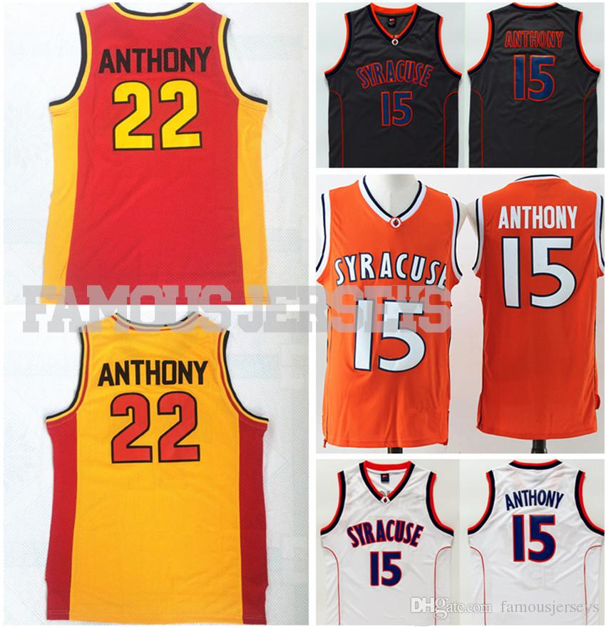 c19999fcf0c 2019 Stitched Jerseys Syracuse College Basketball Jerseys  15 Carmelo  Anthony University Jerseys Oak Hill High School  22 Player Game Uniform From  ...