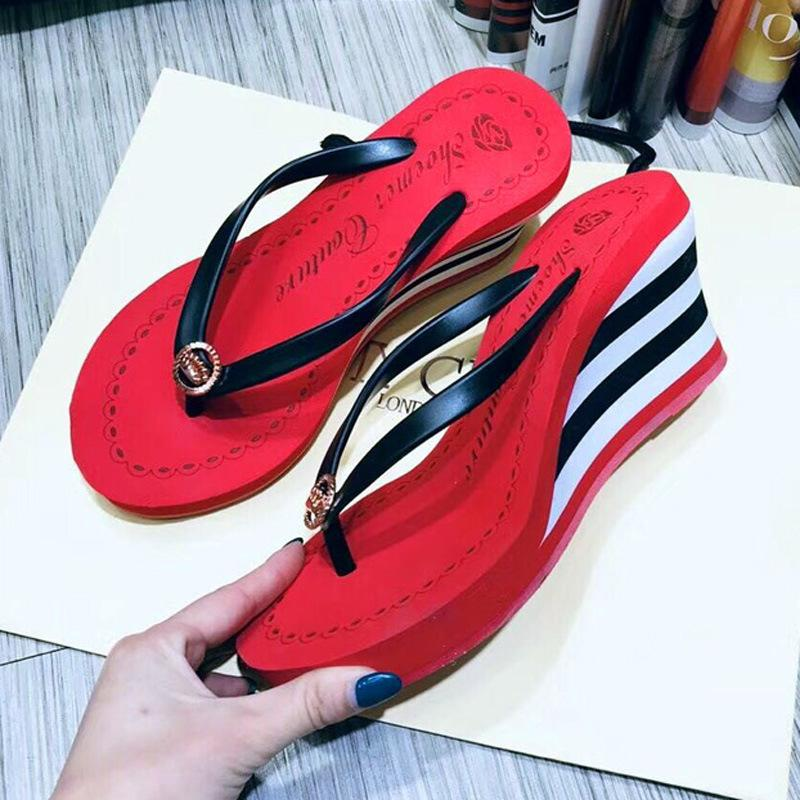 7bbbb9c33 Shoemer Summer Women Slippers New Casual Flip Flops Muffin High Heeled  Creative Wedge Cute Comfortable Non Slip Ladies Beach Sandals Moccasins  Thigh High ...