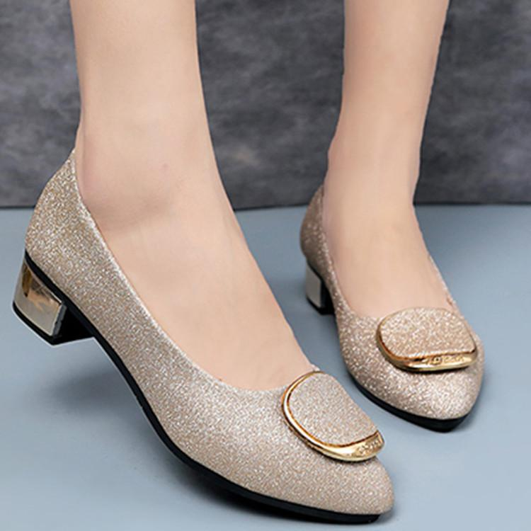 80b7f0a28cf Women Pumps Low Heels Women Shoes Platforms Blingbling Scarpe Donna Pointe  Slip On Casua Ladies Shoes Party Autumn Leather 2019 Black Shoes Nude Shoes  From ...