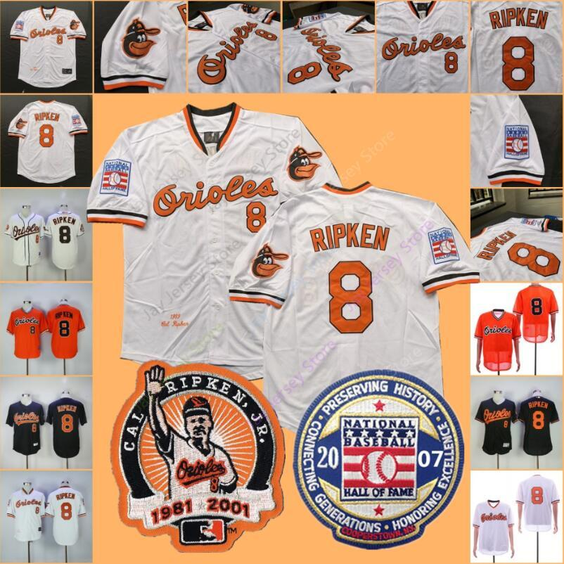 new arrival 014e0 65a77 8 Cal Ripken Jersey MN Cooperstown Orioles with 2007 Baseball Hall Of Fame  Patch Home Away 2001 Baltimore Jerseys Cheap
