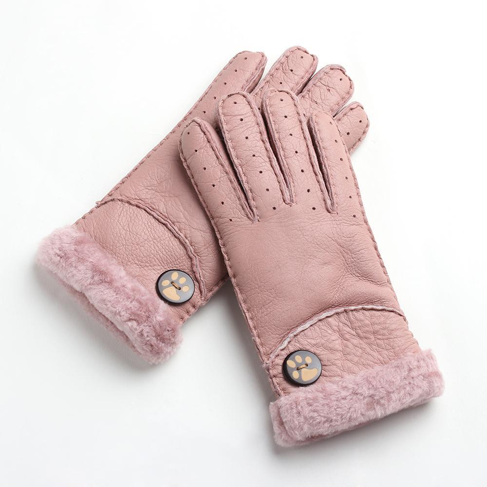 b03c71433 Fashion Women s Warm Winter Gloves Sheepskin One Thickening Finger ...