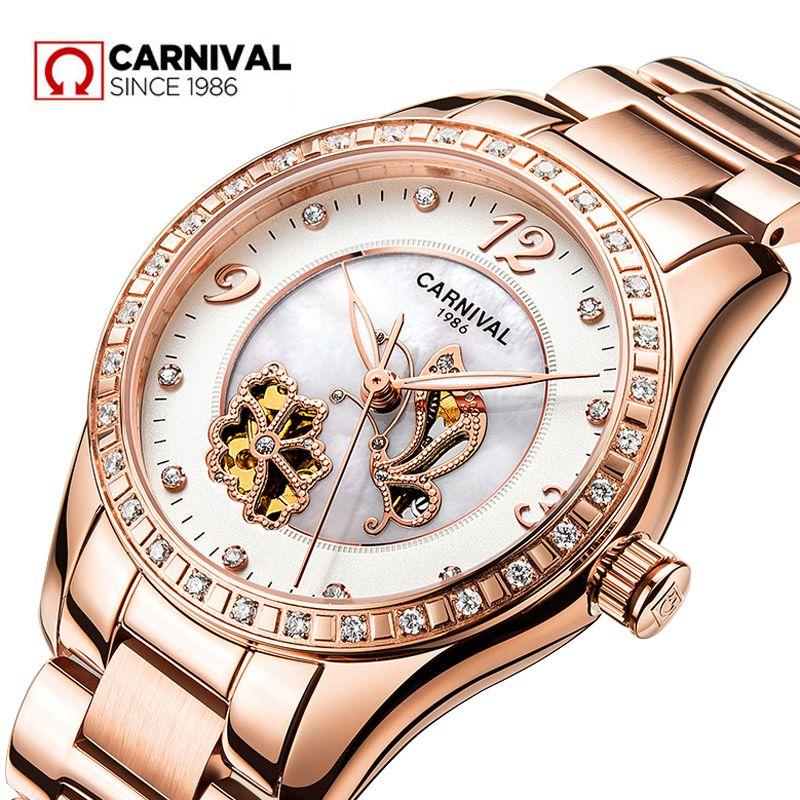 2dce5d302069 Compre 2018 Mujeres Reloj Famosa Marca Carnival Rose Gold Reloj Esqueleto  De Lujo Reloj Mecánico Diamante Mujer Moda Relojes Automáticos A  82.23 Del  ...
