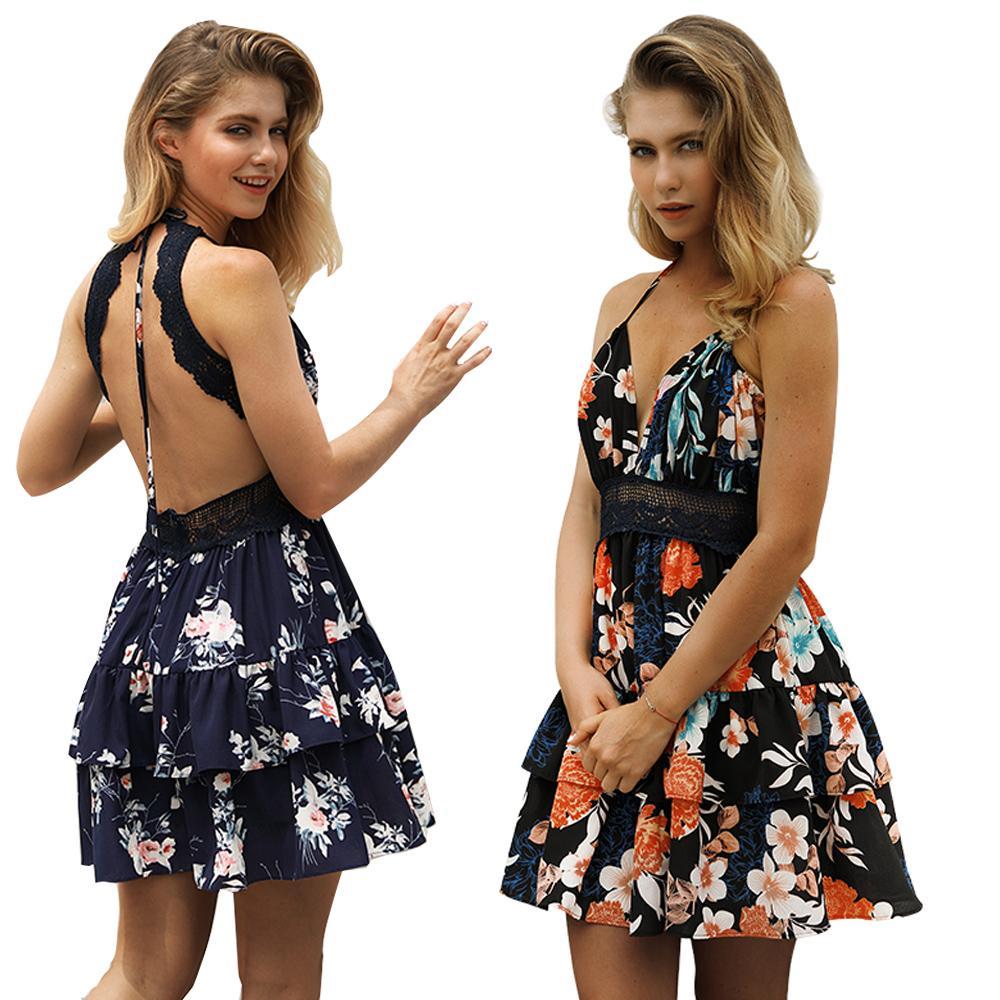 103aeacf9da1 Women Summer Mini Sexy Spaghetti Strap Beach Dress Women Floral ...
