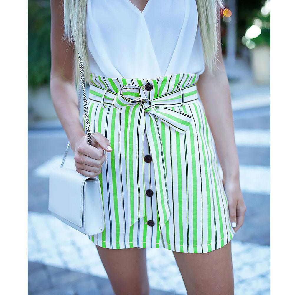 b51444c61a5d 2019 Mini Skirt Women Clothing Lace Up Short Skirt Casual Fabala Striped  High Waist Summer From Edward03, $39.76   DHgate.Com