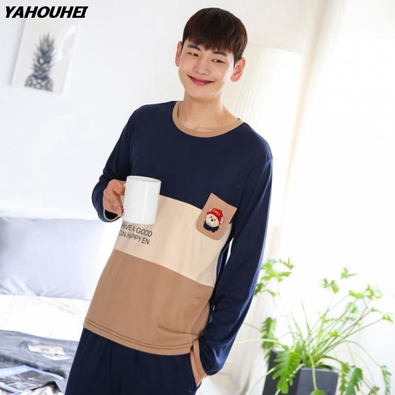 2019 2018 Autumn Winter Cotton Pajamas Sets For Men Long Sleeve Cartoon Pyjamas  Sleepwear Suit Male Homewear Lounge Wear Home Clothes From Yuhuicuo 2bd34f323