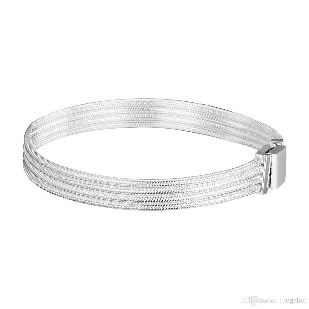 2019 vendita calda europea adatto pandora perline argento bracciali le donne riflessioni catena del serpente con catenaccio clip di fascino fai da te moda 925 gioielli