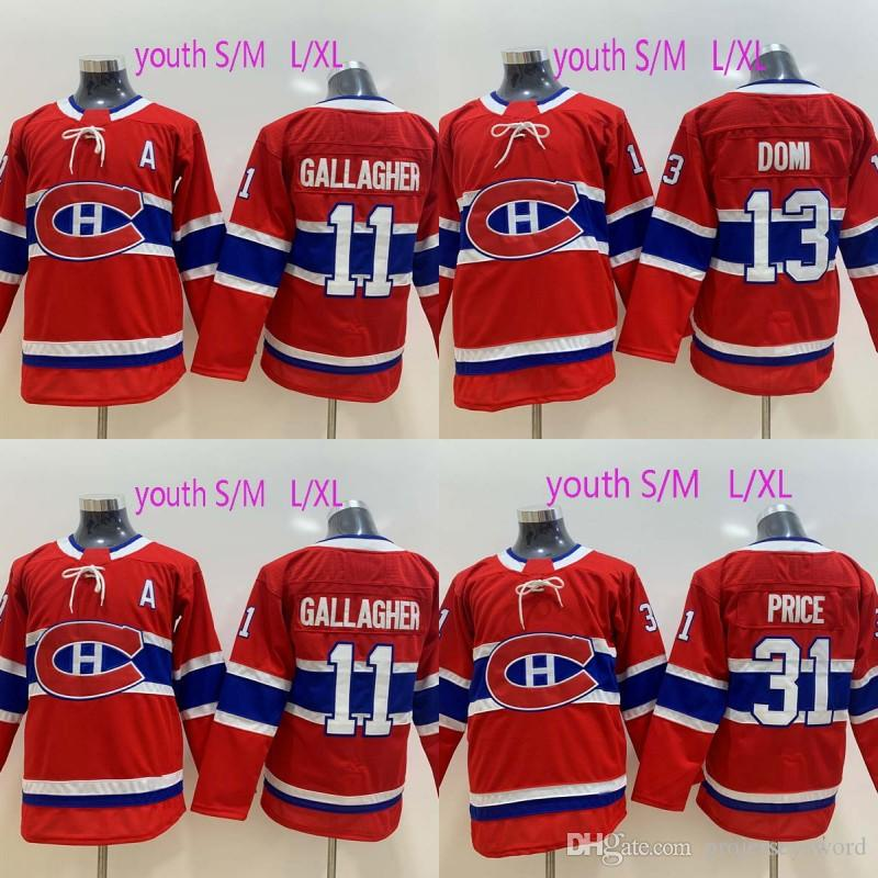 7a985f037 2019 Youth Montreal Canadiens Jersey 13 Max Domi 11 Brendan Gallagher 31  Carey Price 100% Stitched Ice Hockey Jerseys White Red From Projerseysword