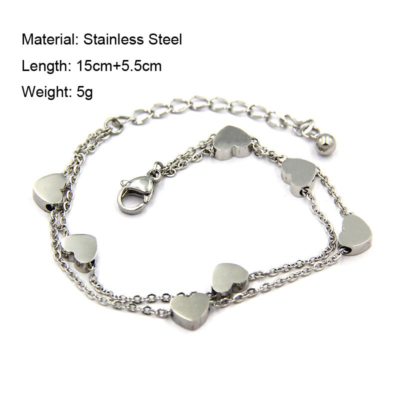 YUKAM Lucky Stainless Steel Small Love Heart Charm Bracelets Double Layer Chain Link Bracelets Bangle for Women Silver Rose Gold