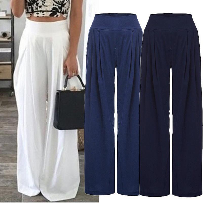 Compre Verano 2018 Pantalones Vaqueros De Gasa Solidos Cintura Elastica Suelta Pantalones Largos Completos Mujer Moda Casual Pantalones De Pierna Ancha A 13 16 Del Bichung Dhgate Com
