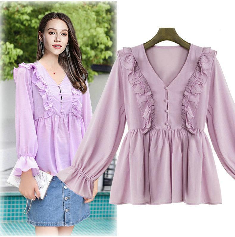 75ea139361dd6 2019 Ruffles Womens Shirt Long Sleeve Tops Plus Size V Neck Blouses Chiffon  Shirt Fashion Sweet Young Girl Blouses L XL 2XL 3XL 4XL From  Top youshanping