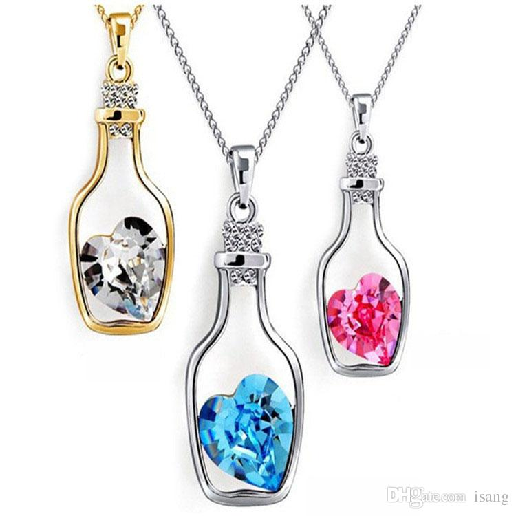 9 Colors Womens Lovely Crystal Pendant Silver Gold Love Heart Wish Bottle Charms Necklace Luxury Designer Jewelry Accessories