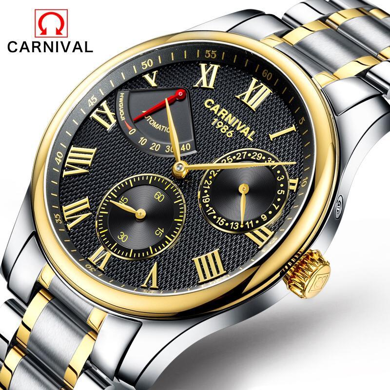 195ce480244 Compre Homens Mecânicos Automáticos Dos Relógios Mecânicos Dos Homens Da  Energia Cinética Dos Homens Do Carnaval Homem Superior Do Relógio De Aço  Completo ...