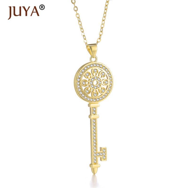 7001c88494d3 Flor de moda de lujo clave collar colgante para las mujeres de plata de oro  collares de cadena mejor regalo amigos bijoux femme collar mujer