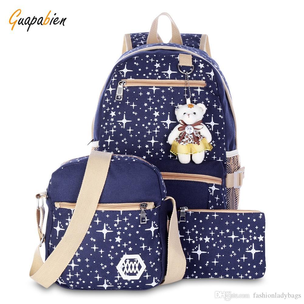 543406c5f4 Winsun Preppy Stylish Canvas Printing Backpack Women School Bags For Teenage  Girls Cute Black Set Travel Backpacks Female Bagpack Best Laptop Backpack  ...