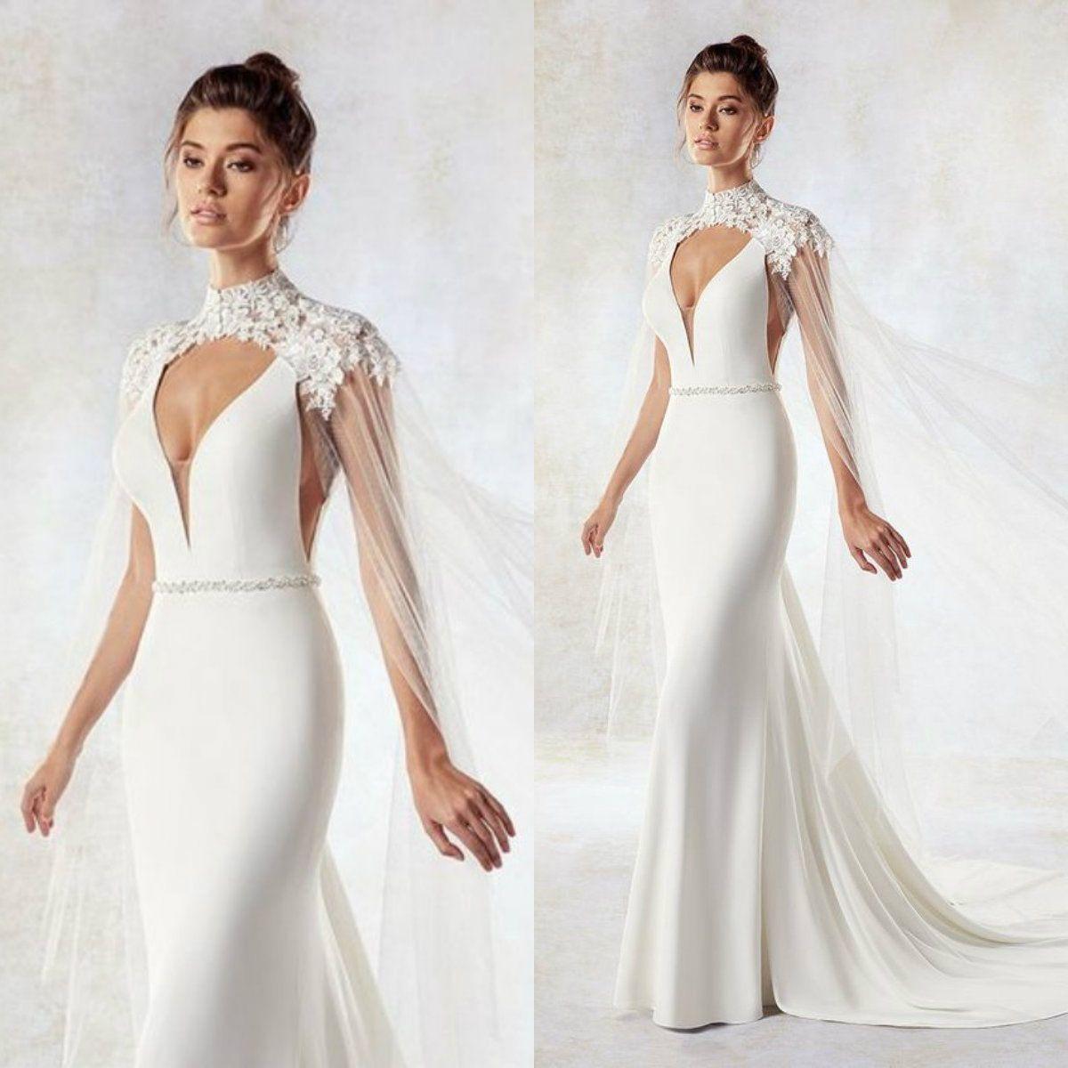 0f1c5d7e311 Eddy K Bridal Jackets Custom Made 2019 High Collar Lace Appliqued ...