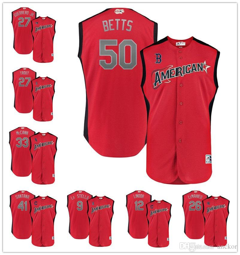 the latest cce09 e64b5 2019 2 Alex Bregman 4 George Springer 50 Mookie Betts American League  Majestic All-Star Game Workout Player baseball Jersey