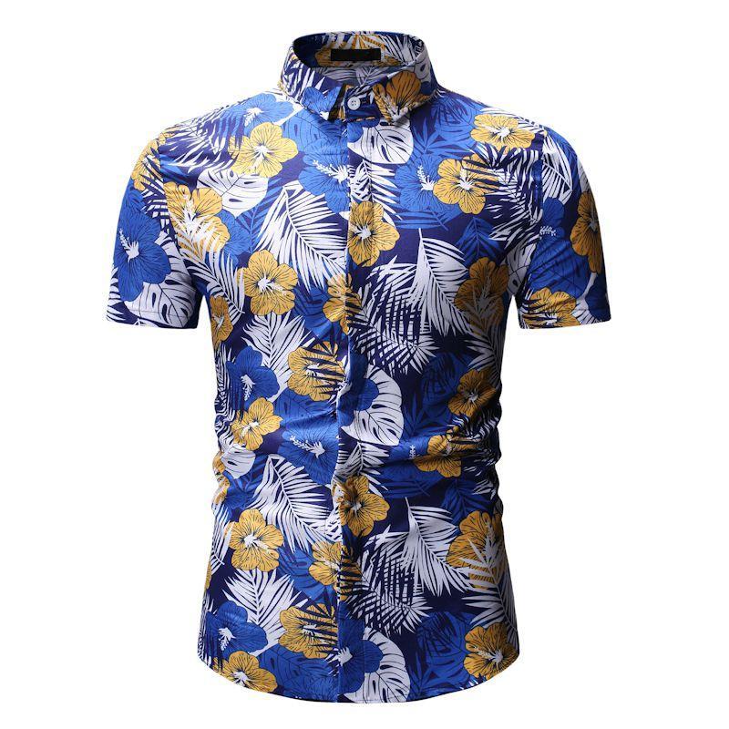 detailed look 256a1 c63f4 Camicia da uomo hawaiana maschile casual camisa masculina spiaggia stampata  shirt manica corta marchio di abbigliamento