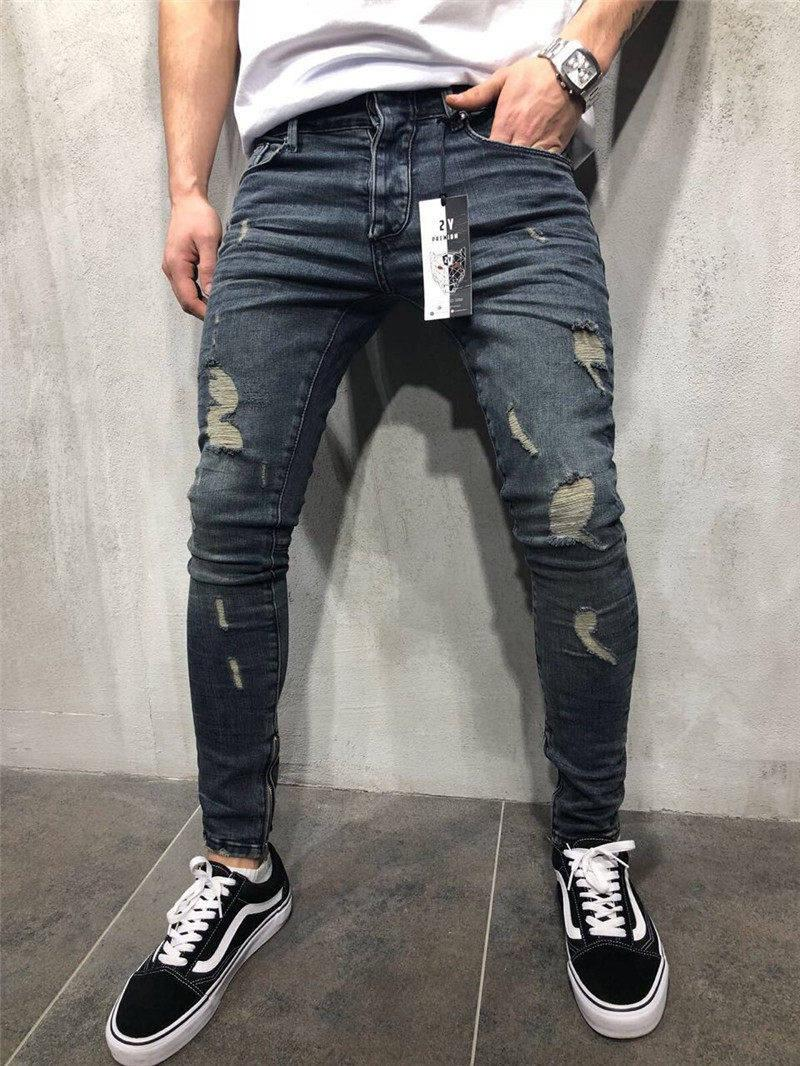 dc6a4611ca02 New Mens Skinny Jeans Casual Slim Biker Jeans Denim Knee Hole Hiphop Ripped  Pants Washed High Quality Hot Sell Size S-4XL Mens Jeans Pants Mens Hole  Pants ...