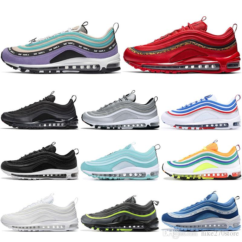 Nike air max 97 off white Con calcetines de moda Zapatillas de running para hombre mujer LONDRES SUMMER OF LOVE triple negro blanco lengüeta de tiro
