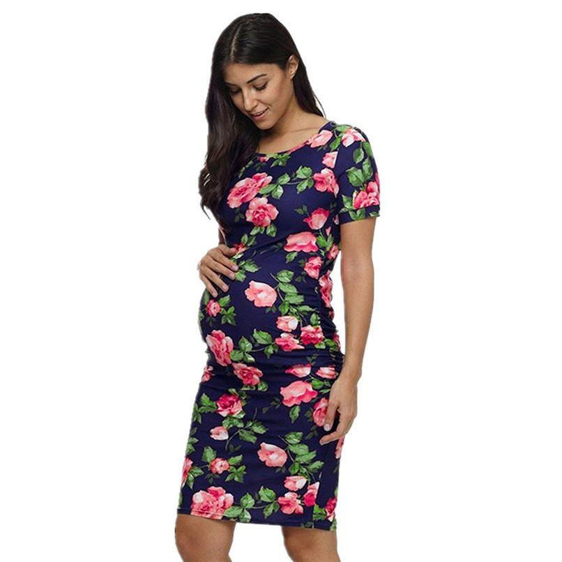 8b29c721c Compre Ropa De Maternidad Vestidos De Maternidad De Verano Las Mujeres  Embarazadas De Maternidad Floral Impreso Vestido De Manga Corta Mujeres  Sundress JE27 ...