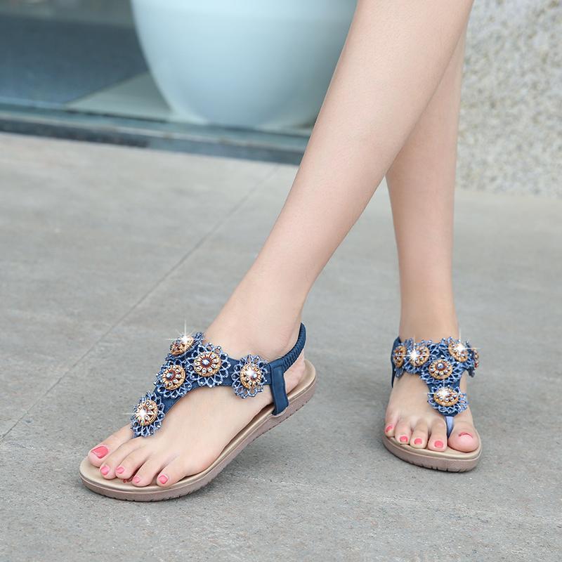 51fcf0880 Women Shoes 2019 Fashion Women Sandals Bohemian Diamond Slippers Woman  Flats Sandals Flip Flops Shoes Summer Beach Buy Shoes Online Wedge Boots  From ...